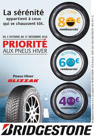 roady centre auto villefranche pneu hiver 3octobre 6decembre 2016 offre bridgestone
