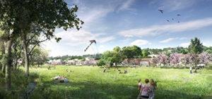 Ecoquartier des Orfèvres Le projet vue parc trevoux fontanel